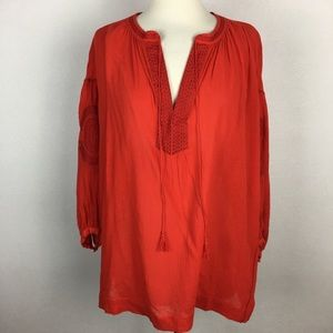 Madewell Red Peasant Boho Style Blouse Small